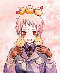 It seems the three on the top represent the BTT and the two Prussia's holding representing Germany and Italy.