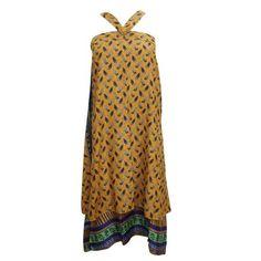 Mogul  Womens Wrap Around Skirt Yellow Silk Sari Reversible Printed  Beach Cover Up Dress