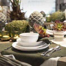 Herbstliche Tischdekoration mit dem Madison Geschirr und unserer Leinen Kollektion