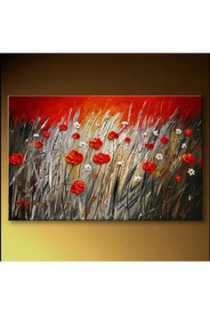 "Hand-painted Flower Oil Painting with Stretched Frame-16"" x 20"" - WooVow"