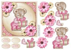 Pink Bear With Gift Square Card Front on Craftsuprint designed by Judith Mary Howells - A 6 inch card front with decoupage featuring a cute bear holding a gift with flower embellishments. Optional Greeting Plates for Happy Birthday, Happy Birthday Granddaughter, A New Baby Girl and a Blank greeting for your own wording. - Now available for download!