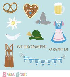 Oktoberfest Digital Clipart Set-pretzel, dirndl dress, gingerbread heart,eps, png, jpeg