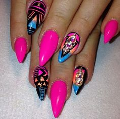 # Neon Pink Nails by Tonika Marie Sexy Nails, Dope Nails, Fancy Nails, Stiletto Nails, Pink Nails, Pointed Nails, Bright Nails, Fabulous Nails, Gorgeous Nails