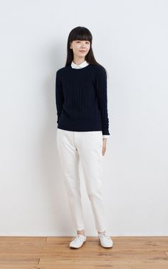 MUJI | OGC BROAD ROUND COLLAR SHIRT | WOOL MIDDLE GAUGE CABLE PATTERN JUMPER | ORGANIC DENIM TAPERED BOYFRIEND | LEATHER LACE-UP SHOES