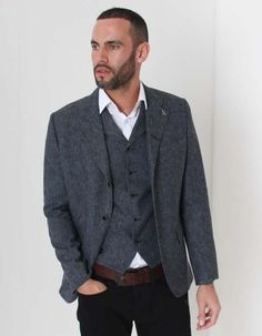 This vintage denim blazer style jacket from Gibson London has a dual button single breasted front with single button fold over flap pockets to the waist. Blazer Fashion, Mens Fashion, Denim Blazer, Occasion Wear, Vintage Denim, Suit Jacket, Suits, Coat, Jackets
