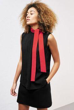 Samantha Cameron Full Lookbook Reveal Fashion Label Cefinn | British Vogue Samantha Cameron, Red Blouses, Funnel Neck, Fashion Brand, New Fashion, Black Blouse, Fashion Labels, Blazer Suit, New Trends