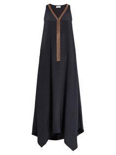 Брунелло Кучинелли Монили-вышивка шелковое платье