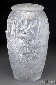 "$19,600.00 - Lalique RARE Angelique Lidded Vase Nude 21"" Limited Edition 185 Retail $37,500"