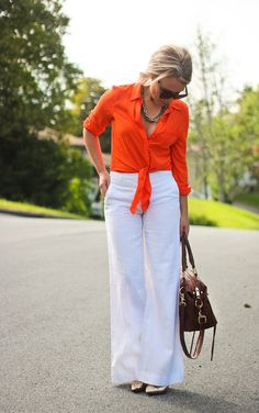 Orange Shirt. White Pants.