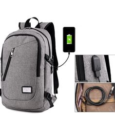 8b432484b1 Anti-theft Mens USB with Charger Port Backpack Laptop Notebook Travel  School Bag  fashion