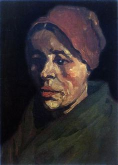Vincent van Gogh : 1885,  Head of a Peasant Woman with a brownish hood