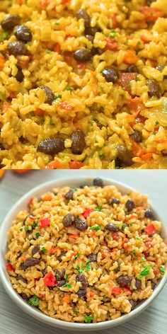 Red Rice and Beans Recipe - This is THE ONLY Rice and Beans recipe you'll ever need! Made with simple ingredients, this dish - Rice Recipes For Dinner, Veggie Recipes, Mexican Food Recipes, Whole Food Recipes, Cooking Recipes, Healthy Recipes, Vegetarian Rice And Beans Recipe, Easy Rice And Beans Recipe, Cuban Rice And Beans