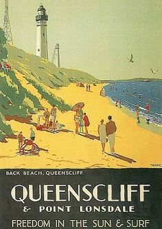 Percy Trompf Queenscliff Australia How I love Queenscliff - E was married here. Vintage Advertising Posters, Vintage Travel Posters, Vintage Advertisements, Posters Australia, Australian Vintage, Tourism Poster, Victoria Australia, Melbourne Victoria, Cool Posters