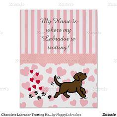 Chocolate Labrador Trotting Home Print #ChocolateLabrador #labradorart #labradorartwork #artwork #poster #dogart #nurseryart