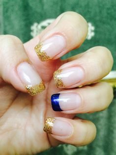 My nails are ready for @cadylee wedding! Gold glitter and navy blue tips. Her wedding colors.