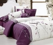 purple and white bedding set with comforter- $200