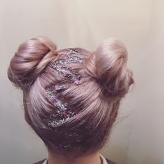 silver & pink glitter zigzag parting buns