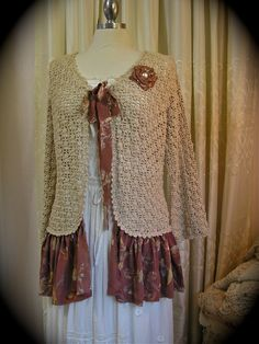 Shabby Bohemian Sweater, cotton crochet, upcycled altered couture, altered clothing, LARGE. $88.00, via Etsy.