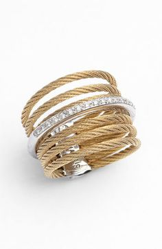 "Charriol ""Classique"" 7-row Cable and Diamond Ring"