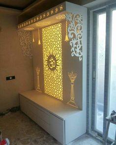 Living Room Partition Design, Pooja Room Door Design, Room Partition Designs, Home Design Living Room, Door Design Interior, Paz Interior, Room Design Bedroom, Ganpati Decoration Design, Mandir Decoration
