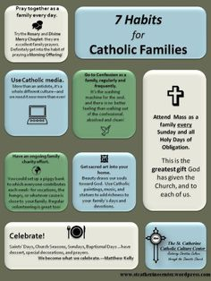 7 Habits for the Catholic Family. Although I doubt I'll ever marry a Catholic man, since my beliefs have shifted over the years, but I like this just in case I end up having a Catholic family.