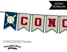 INSTANT DOWNLOAD - Vintage Baseball Concessions Banner by printylittlethings on Etsy https://www.etsy.com/listing/275903496/instant-download-vintage-baseball