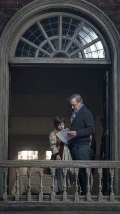 Director Steven Spielberg with Ruby Barnhill on the set of Disney's fantasy-adventure, THE BFG, directed by Steven Spielberg and based on the best-selling book by Roald Dahl.