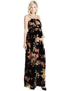 55a5f6bb155f9 Print + maxi | velvet floral maternity maxi dress by Jessica Simpson  available at Destination Maternity