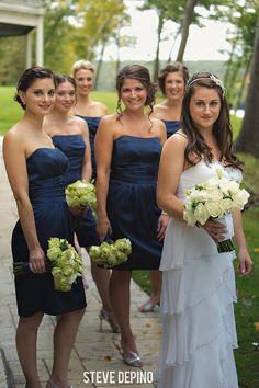 wedding photography, Steve DePino Photography, bridesmaids, blue bridesmaid dresses, white bridal flowers, ruffled wedding dress, outdoor portraits, wedding portrait