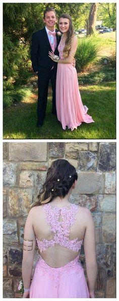 V-Neck Charming Appliques A-Line Real Made Prom Dresses,Long Evening…
