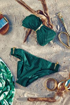 Fully lined bikini bottoms with a textured pattern. | H&M Summer