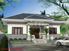 Phối cảnh 2: Mẫu nhà cấp 4 sang trọng ở Ninh Bình BT25137 Bungalow House Design, Small House Design, Modern House Design, Small Villa, Affordable House Plans, Beautiful House Plans, One Story Homes, Street House, House Elevation