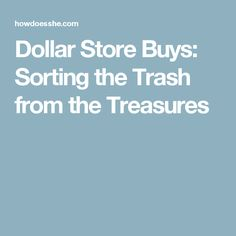 Dollar Store Buys: Sorting the Trash from the Treasures
