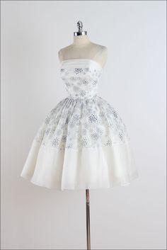Vintage 1950s White Bubble Dots Chiffon Dress image 4