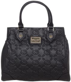 HELLO KITTY BLACK EMBOSSED SATCHEL BAG This giant Hello Kitty purse will hold all the must have items and still have room for the things you don't really need! It can be carried with the hefty duty rolled handles or slung over your shoulder with the removable shoulder strap. It has a swivel latch closure with silver hardware. $60.00 #loungefly #hellokitty #purse