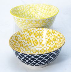 This Yellow Bowl Set Comes In 2 Different Designs For The Less Traditional. Brighten Up Your Dinner Table. Yellow Bowls, Dinner Table, Bowl Set, Dinnerware, Porcelain, Traditional, Medium, Tableware, Dinning Table