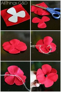 Memorial day design fun diy felt poppies in honor of memorial day, crafts, patriotic decor ideas, seasonal holiday decor, wreathsMemorial day diy DIY Felt Poppies - step by step instructions and a template included. Felt Diy, Felt Crafts, Fabric Crafts, Diy Crafts, Diy And Crafts Sewing, Sewing Diy, Diy Craft Projects, Home Crafts, Craft Ideas