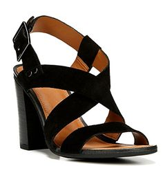 Franco Sarto Womens Sabine Heel Sandal Black Suede Size 85 *** Read more  at the image link.