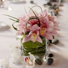 Pink Question: Square vases? Square Vase Centerpieces  weddingbycolor.com