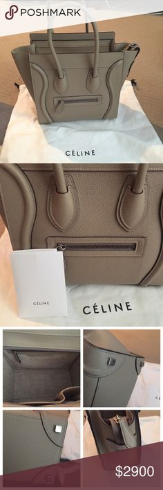 """Celine micro luggage Amazing condition.  Celine micro in dune drummed leather.  10"""" h x 10"""" w x 6"""" d.  Comes with the dust bag and receipt. Wore like 10 times. NO TRADES please. 100% authentic. Celine Bags Totes"""