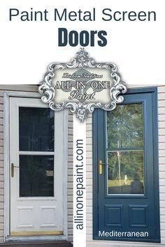 Painted Screen Doors, Painting Metal Doors, Metal Screen Doors, Paint Metal, House Paint Exterior, Exterior Paint Colors, Exterior House Colors, Exterior Doors, Exterior Design