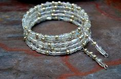 Winter's Night Seed Bead Memory Wire Bracelet