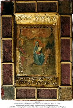 BIBLE: PSALMS, WITH PETRUS LOMBARDUS: THE GREAT GLOSS  Binding:Paris, France, ca. 1200, massive wooden boards with metal fittings, sewn on 5 thongs, with a 15th c. painting