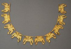 Mycenaean Gold Necklace, 16th Century BC - From Grave Circle A, a royal cemetery situated to the south of the Lion Gate, the main entrance of the Bronze Age citadel of Mycenae, southern Greece.
