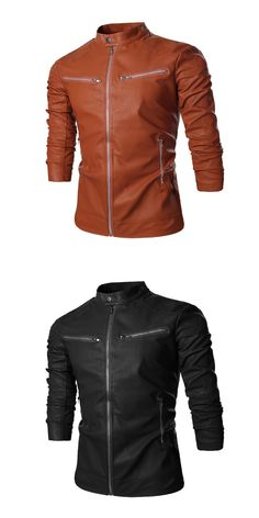 f771f2d8f51 Leather Jacket Men Stand Collar Autumn New Men s leather Jacket +Locomotive  style Men s Slim Fit