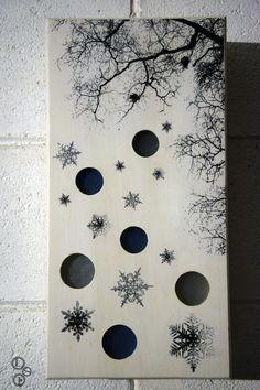 #Winter wall #lamp. #Light wood and glass #handmade @etsy