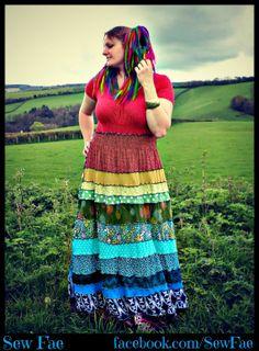 SOLD Large Floral rainbow Upcycled maxi dress patchwork by SewFae https://www.facebook.com/SewFae https://www.etsy.com/uk/shop/SewFae