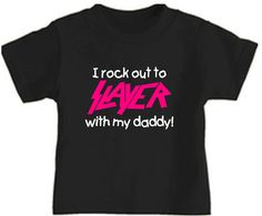 kids toddler t-shirt slayer pink rock out with mommy daddy  childs  black shirt clothes cool childrens trendy band gear. $19.00, via Etsy.
