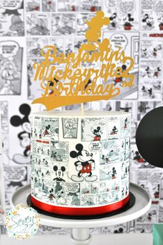 Comic Mickey Mouse cake from a Vintage Mickey Mouse Themed Birthday Party via Kara's Party Ideas | KarasPartyIdeas.com (34)