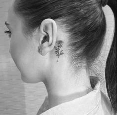 Image about girl in tattoo&piercing ? Red Ink Tattoos, Dainty Tattoos, Pretty Tattoos, Rose Tattoos, Body Art Tattoos, Small Face Tattoos, Rose Tattoo Behind Ear, Rose Drawing Tattoo, Neck Tattoos Women